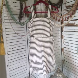 Bananna Republic white and navy striped dress.